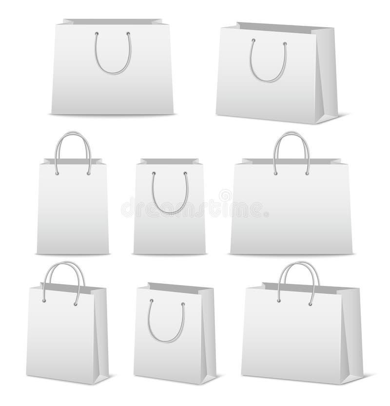 Pustego papieru torba na zakupy ustawiający odizolowywającymi na bielu ilustracja wektor