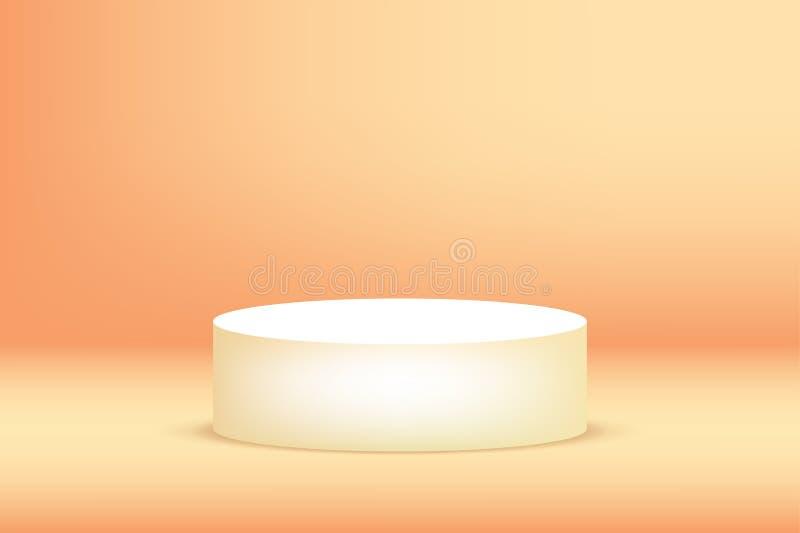 Pustego podium pracowniany pomarańczowy tło dla produktu pokazu z kopii przestrzenią ilustracja wektor