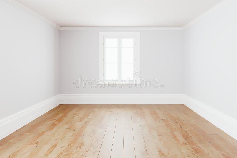 Pustego prostego wewnętrznego izbowego tła puste białe ściany narożnikowe i biały drewniany podłogowy rówieśnik, 3D rendering royalty ilustracja