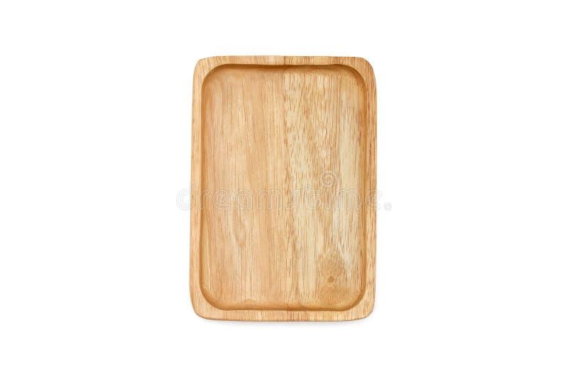 Pustego prostokąta drewniany talerz, odosobniony na białym tle fotografia royalty free