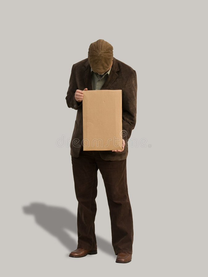pustego puszka przyglądającego mężczyzna stary znak zdjęcie royalty free