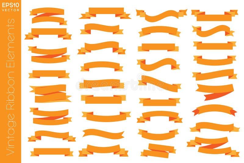 Pustego rocznika elementów ikony Tasiemkowy wektor ilustracja wektor