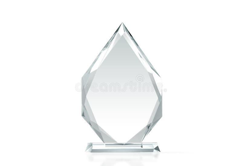 Pustego strzałkowatego kształta trofeum szklany mockup, 3d rendering royalty ilustracja