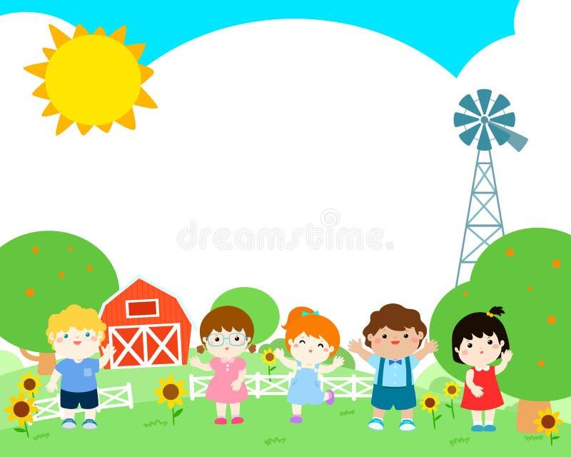 Pustego szablonu szczęśliwego dzieciaka plakatowy projekt ilustracji