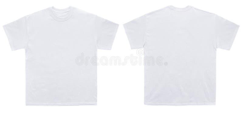 Pustego T Koszulowego koloru szablonu biały przód i tylny widok fotografia royalty free