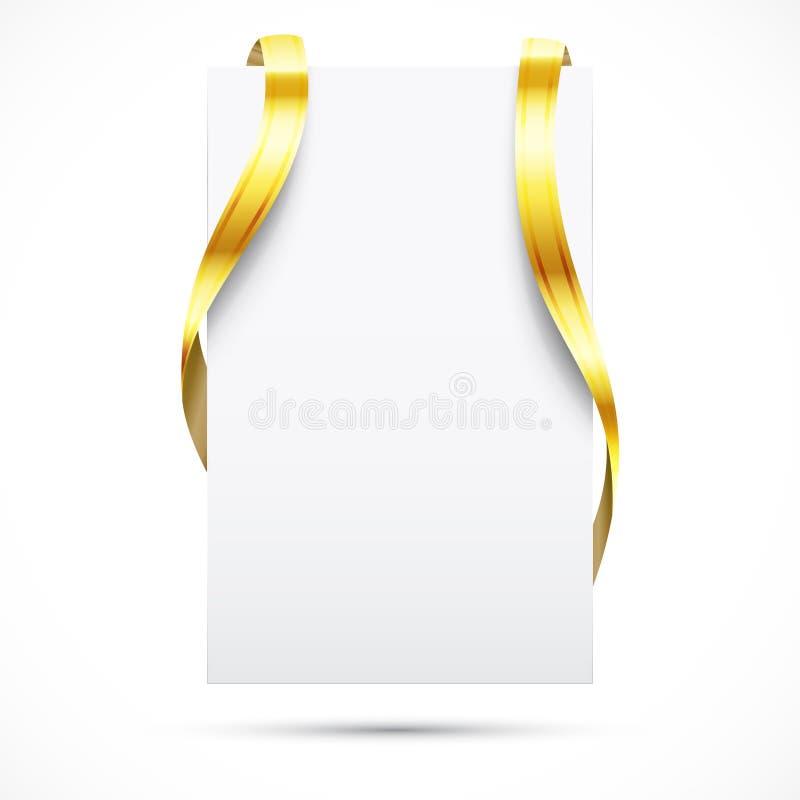 pustego złocistego promo tasiemkowa etykietka royalty ilustracja