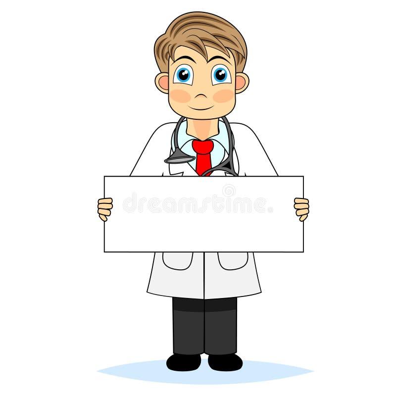 pustej chłopiec śliczny doktorski mienia znak royalty ilustracja