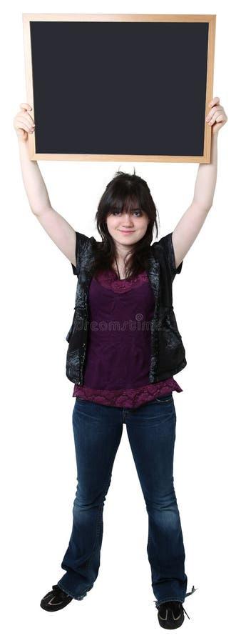 pustej chalkboard dziewczyny stary szesnaście rok zdjęcie stock