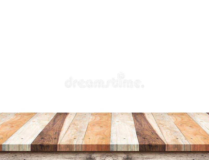 Pustej deski drewniany stołowy wierzchołek odizolowywa na białym tle, Opuszcza sp zdjęcia stock