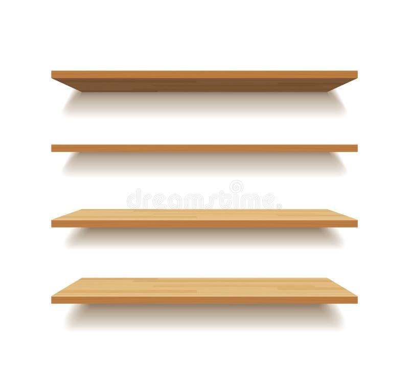 Pustej drewnianej półki odosobniony tło ilustracji