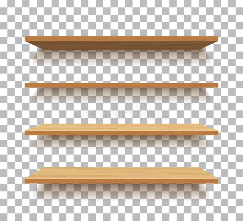 Pustej drewnianej półki odosobniony tło royalty ilustracja