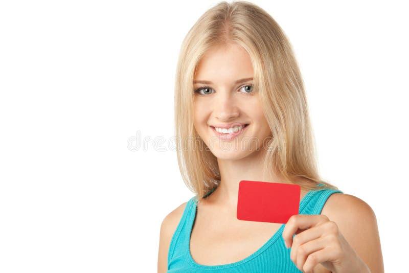 pustej karty dziewczyny mienie zdjęcia stock