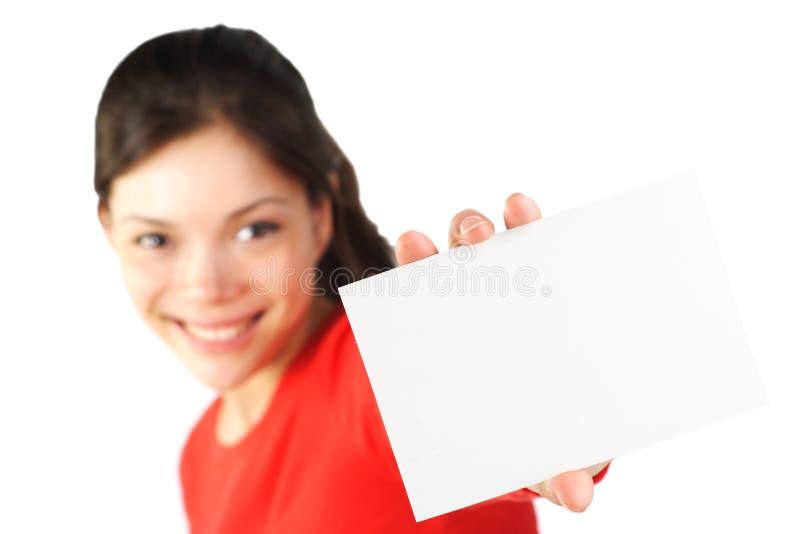 pustej karty kobieta zdjęcia royalty free