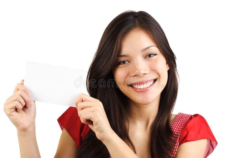 pustej karty papieru kobieta fotografia stock
