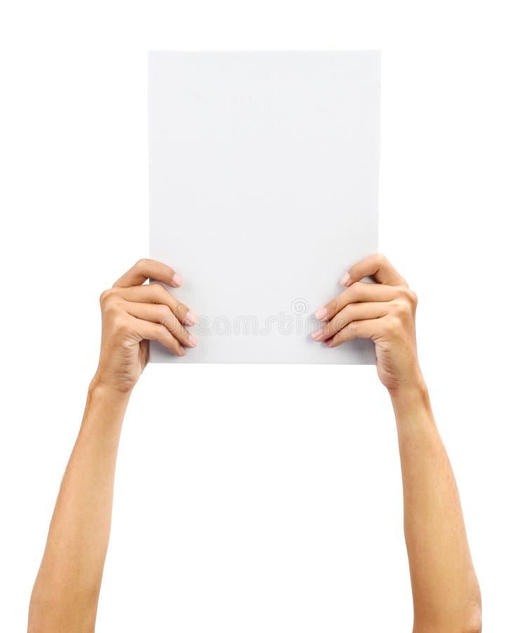 pustej karty ręki mienia biel fotografia royalty free