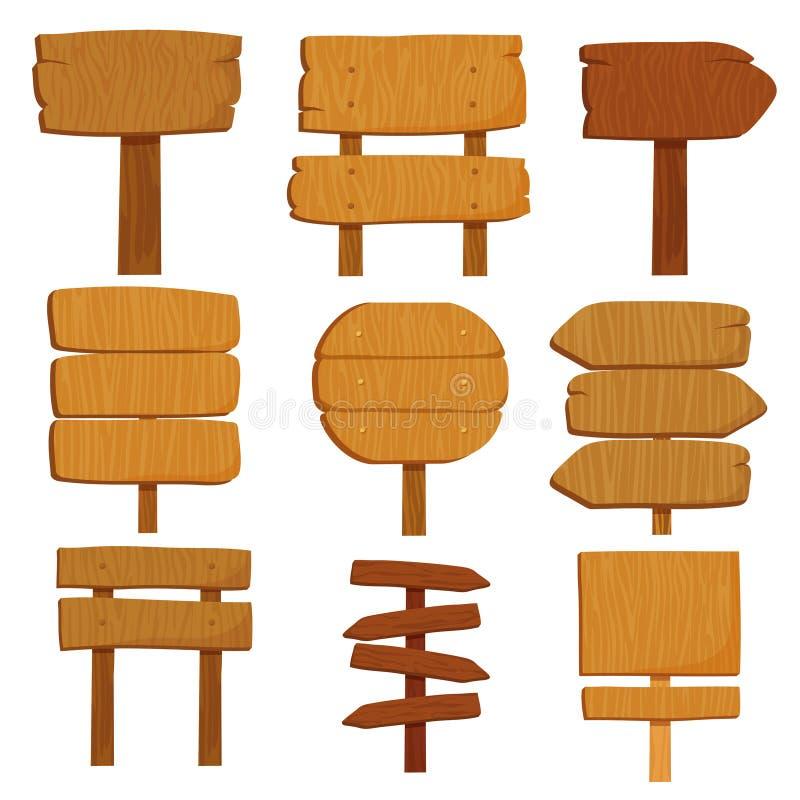 Pustej kreskówki drewniani znaki Starych drewnianych kierunkowskaz desek wektoru odosobniony set royalty ilustracja