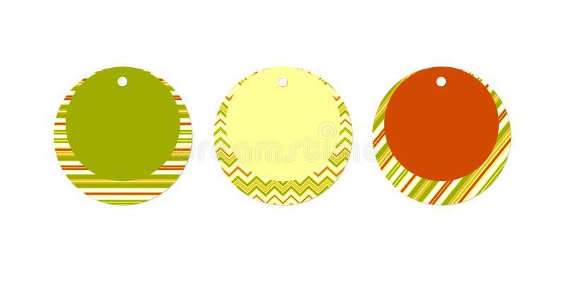 Pustej metka układu Round Ustalonej zieleni czerwony żółty sztandar lampas linie zygzakuje na białym tło Nowożytnego projekta ele ilustracji