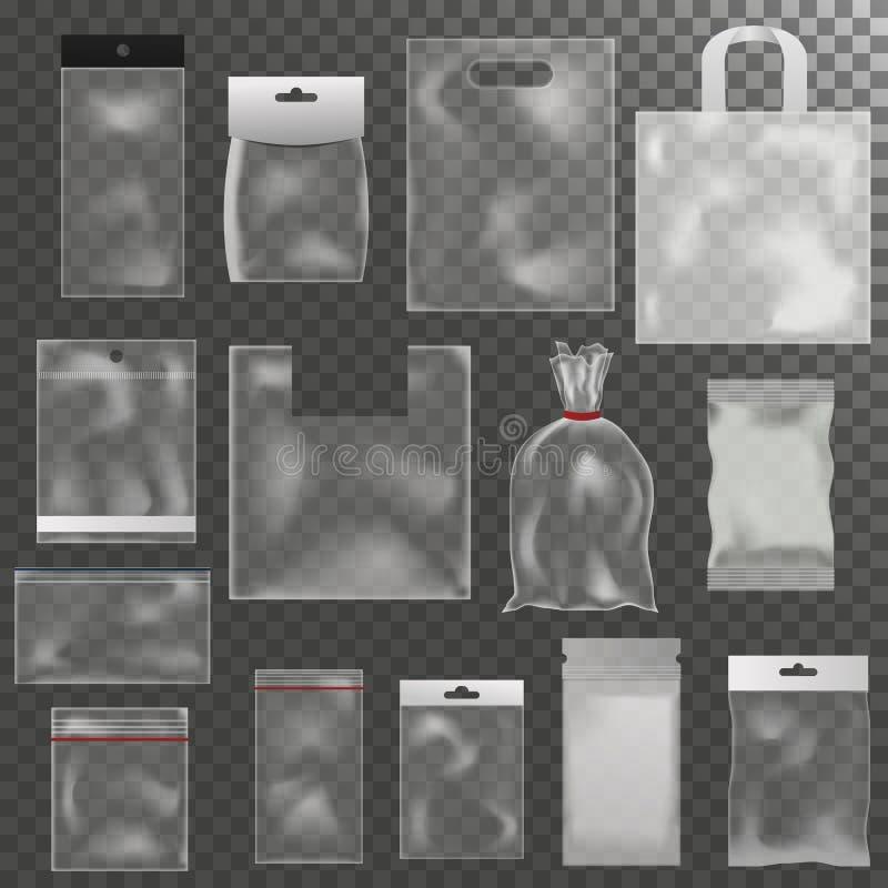Pustej plastikowego worka pakunku mockup paczki 3d opakunku przejrzystej realistycznej paczki glansowany reklamowy czyści pakunku ilustracja wektor