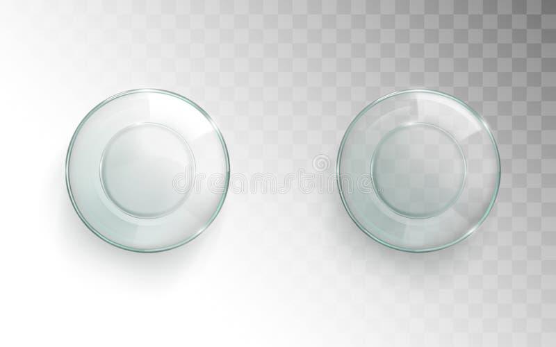 Pustej szklanej filiżanki odgórny widok, glassful dla woda setu ilustracji