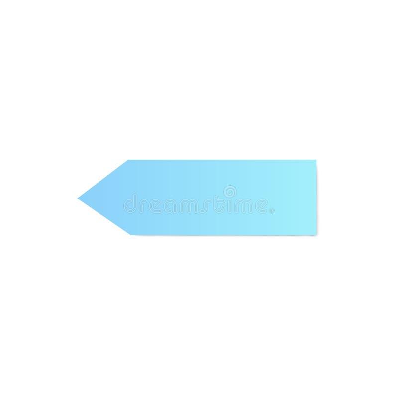 Pustej taśmy papieru majcheru szablon w strzały lub pointeru kształta wektorze odizolowywającym royalty ilustracja
