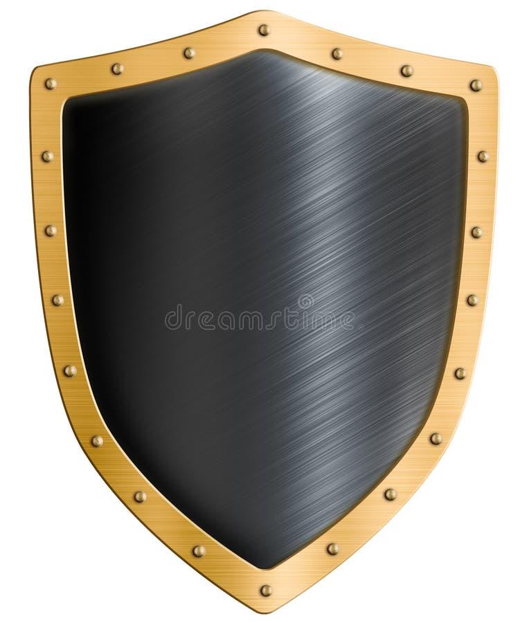 Pustej złocistej metal osłony odosobniona 3d ilustracja royalty ilustracja