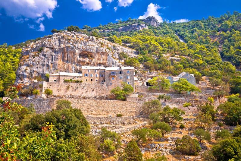 Pustinja Blaca hermitage on the rock. Island of Brac, Dalmatia, Croatia royalty free stock photography