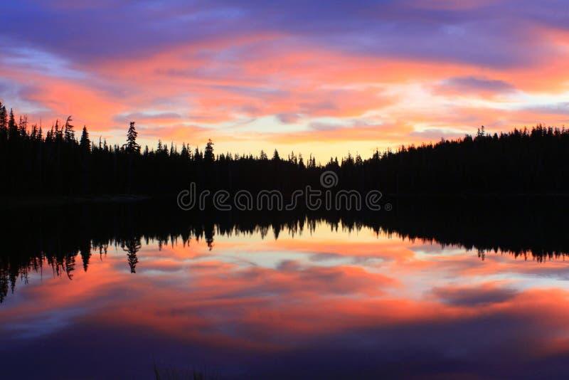Pustkowia Ranek jeziora odbicia zdjęcia royalty free