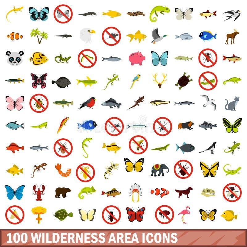 100 pustkowie terenu ikon ustawiających, mieszkanie styl ilustracja wektor