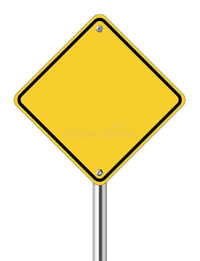 Pusty żółty drogowy znak ilustracji