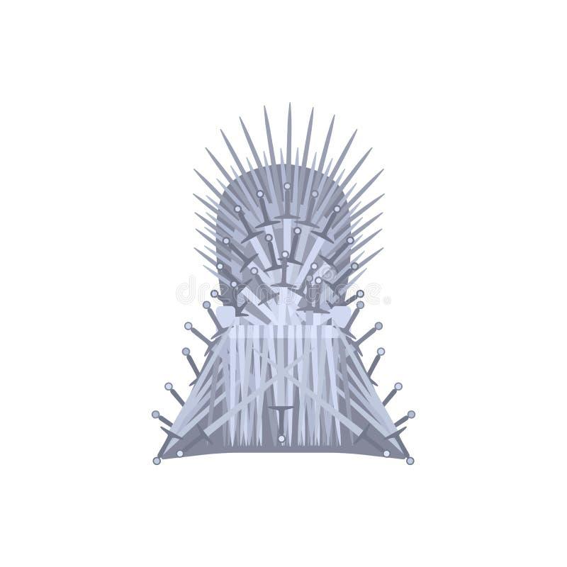 Pusty żelazny tronowy kreskówka styl royalty ilustracja
