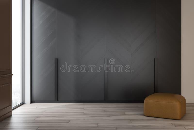 Pusty żywy pokój z rzemiennym pouffe ilustracji