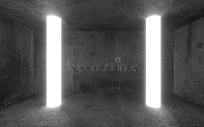 Pusty abstrakta betonu przedstawienia pokój z rozjarzoną światła i kopii przestrzenią Nowożytny powystawowy pracowniany mockup dl royalty ilustracja