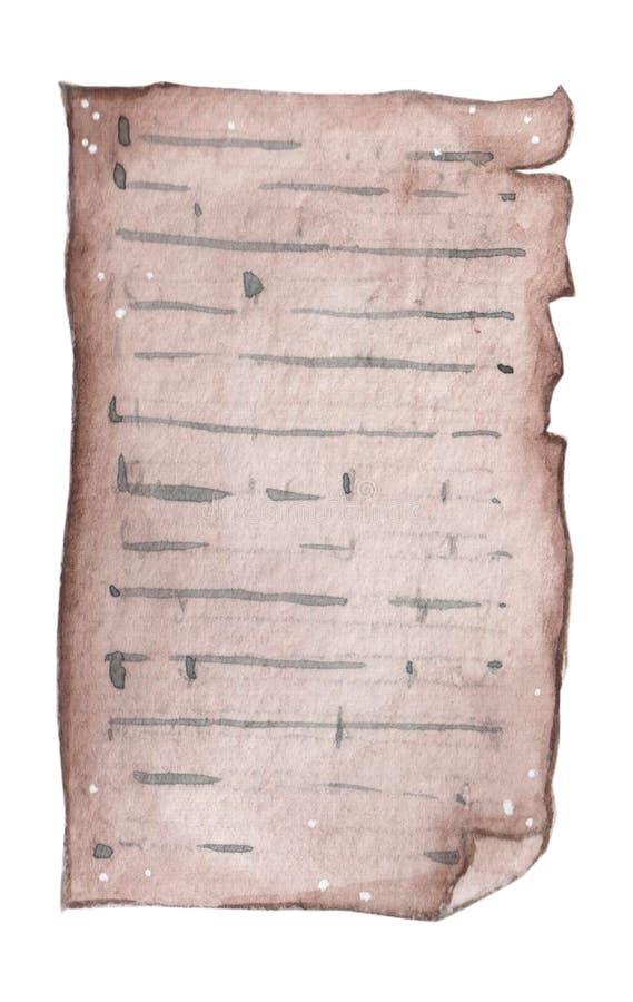 Pusty akwarela papier na białym tle, szorstka tekstura dla notatek, muzyczny papier royalty ilustracja
