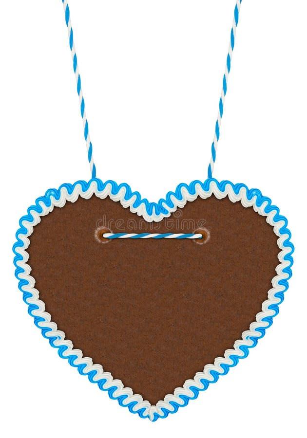 Pusty błękitny biały piernikowy serce obrazy royalty free