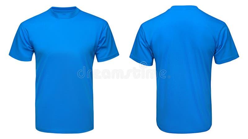 Pusty błękitny koszulka egzamin próbny w górę szablonu, przodu i tylnego widoku, odosobniony biały tło obraz stock
