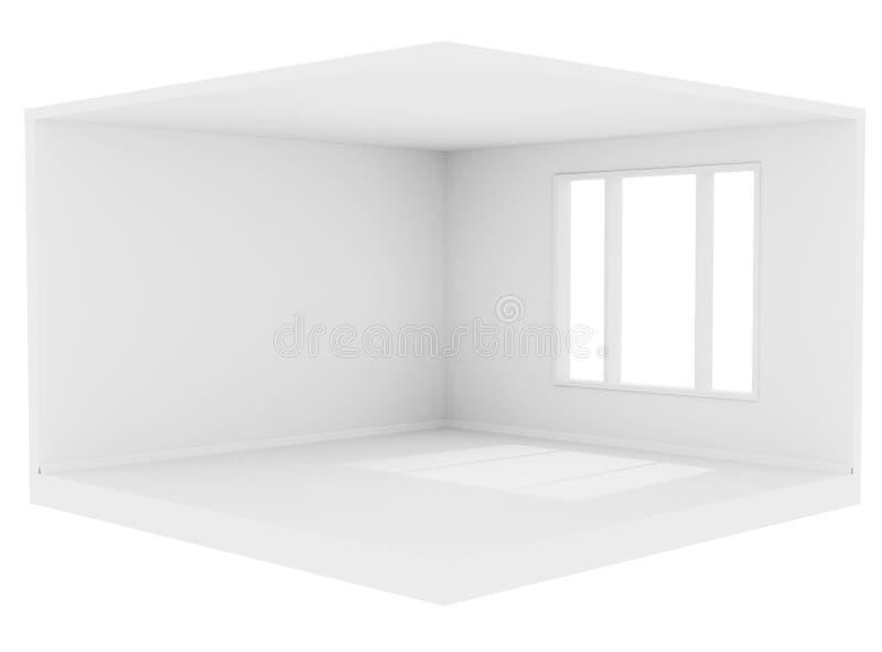 Pusty biały pokój z wielkim okno i biel ścianami ilustracja wektor