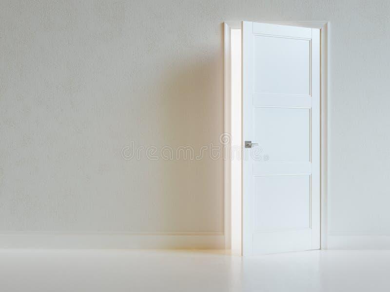 Pusty Białego pokoju wnętrze Z Rozpieczętowanym drzwi. obraz royalty free