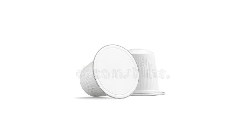 Pusty białej kawy kapsuły pudełka egzamin próbny w górę, odizolowywający, frontowy widok, ilustracja wektor