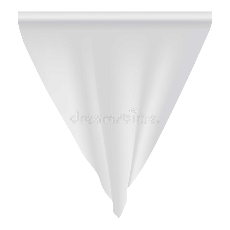 Pusty biały banderki mockup, realistyczny styl ilustracja wektor