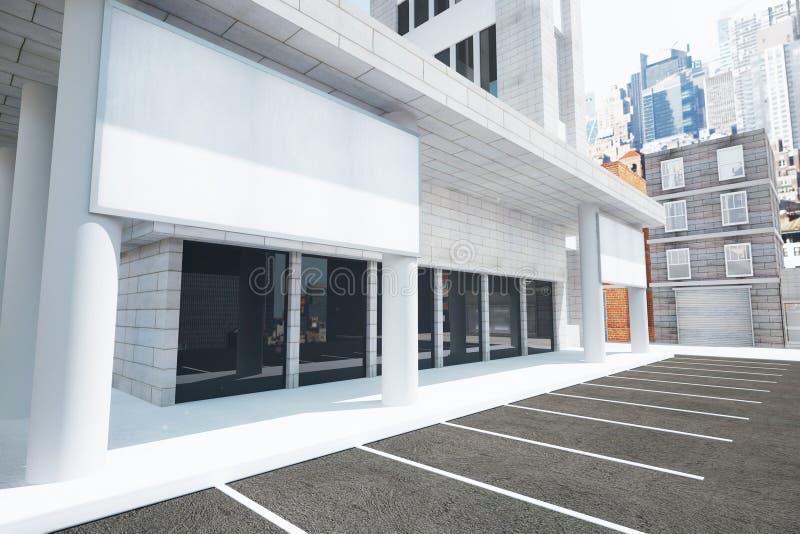 Pusty biały billboard na ścianie nowożytny budynek na stre ilustracji