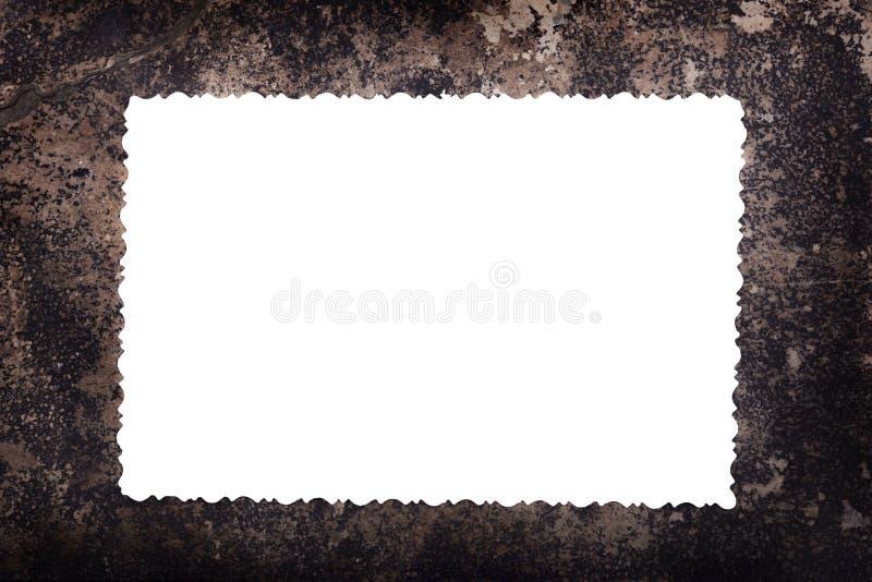 Pusty biały blanc dla fotografii na starej papier ramie zdjęcia stock