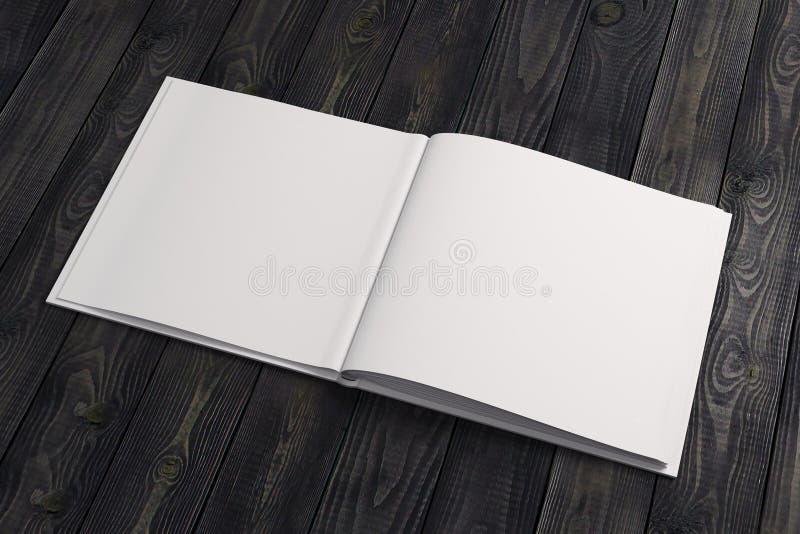 Pusty biały copybook na drewnianym desktop royalty ilustracja