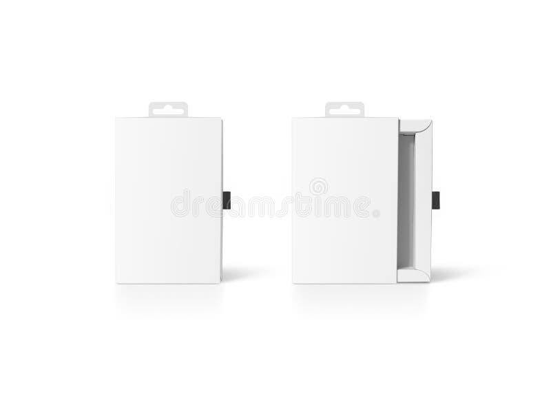 Pusty biały kartonowy akcesorium pudełka mockup zamykający i otwierający, zdjęcie royalty free
