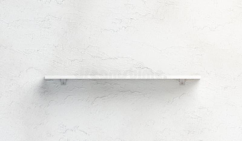 Pusty biały książkowej półki mockup wspinał się na ścianie royalty ilustracja