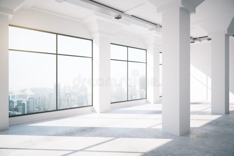 Pusty biały loft wnętrze z dużymi okno ilustracji