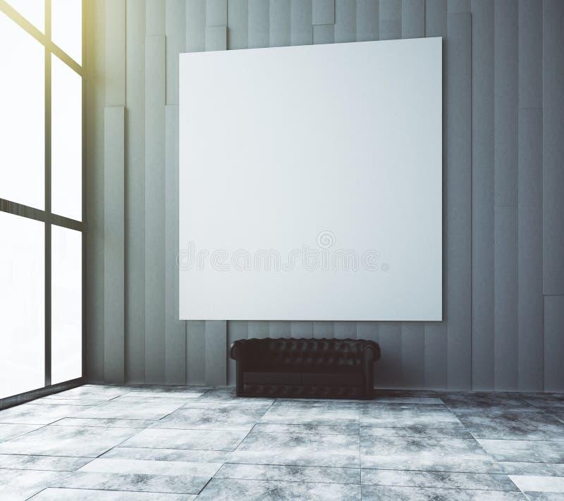 Pusty biały obrazek na ścianie w pokoju z rzemienną kanapą royalty ilustracja