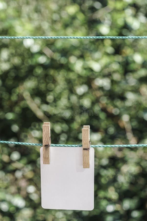 Pusty biały papier wieszał z odzieżowymi czopami na arkanie przy ogródem obrazy stock