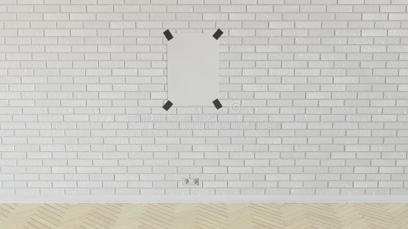 Pusty biały pionowo plakat nagrywający ściana z cegieł royalty ilustracja