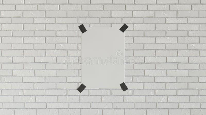 Pusty biały pionowo plakat nagrywający ściana z cegieł ilustracji