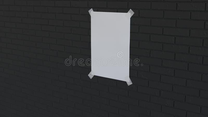 Pusty biały pionowo plakat nagrywający ściana z cegieł ilustracja wektor